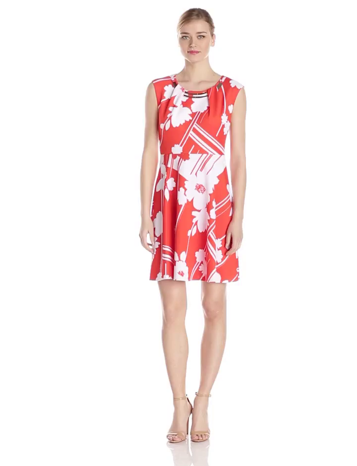 f920a4b5ef9a Sandra Darren Women's Cap Sleeve Printed Embellished Neck Fit and Flare  Dress, Coral/White, 12 at Amazon Women's Clothing store: