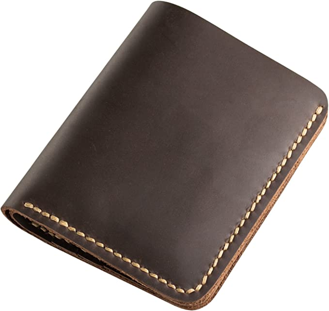 full hand made Dark blue Bifold natural leather crazy horse handsewing