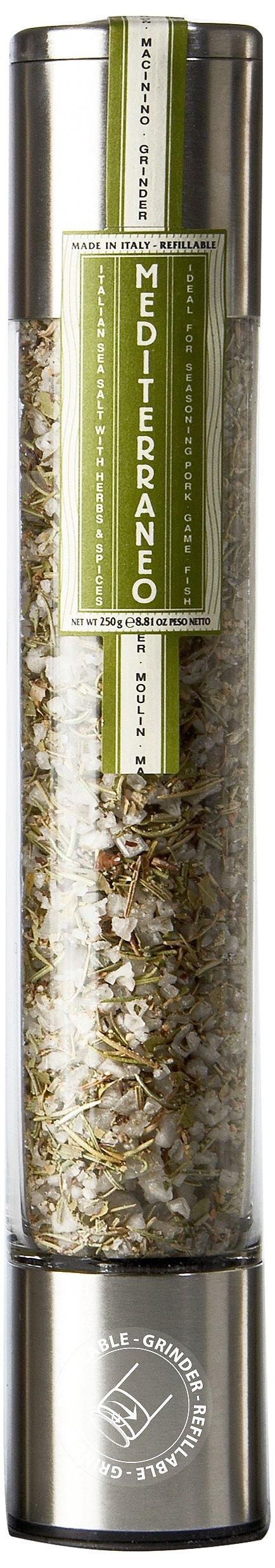 Mediterraneo, Sea Salt & Spice Grinder - 8.8 oz metallic grinder