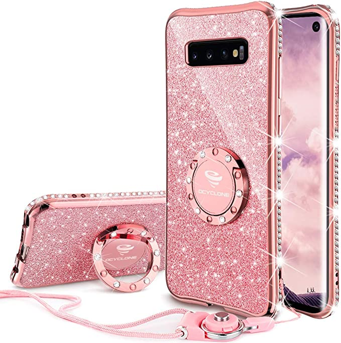 Ocyclone Samsung Galaxy S10 Case Glitter Diamond Cute S10 Phone Case For Girls Women Bling Protective Bumper Cover With Ring Kickstand Glitter Samsung Galaxy S10 Case 6 1 Rose Gold Amazon Co Uk Electronics