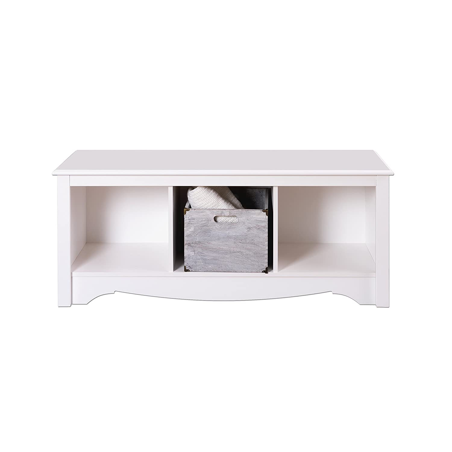 Bedroom bench with arms - White Cubbie Bench