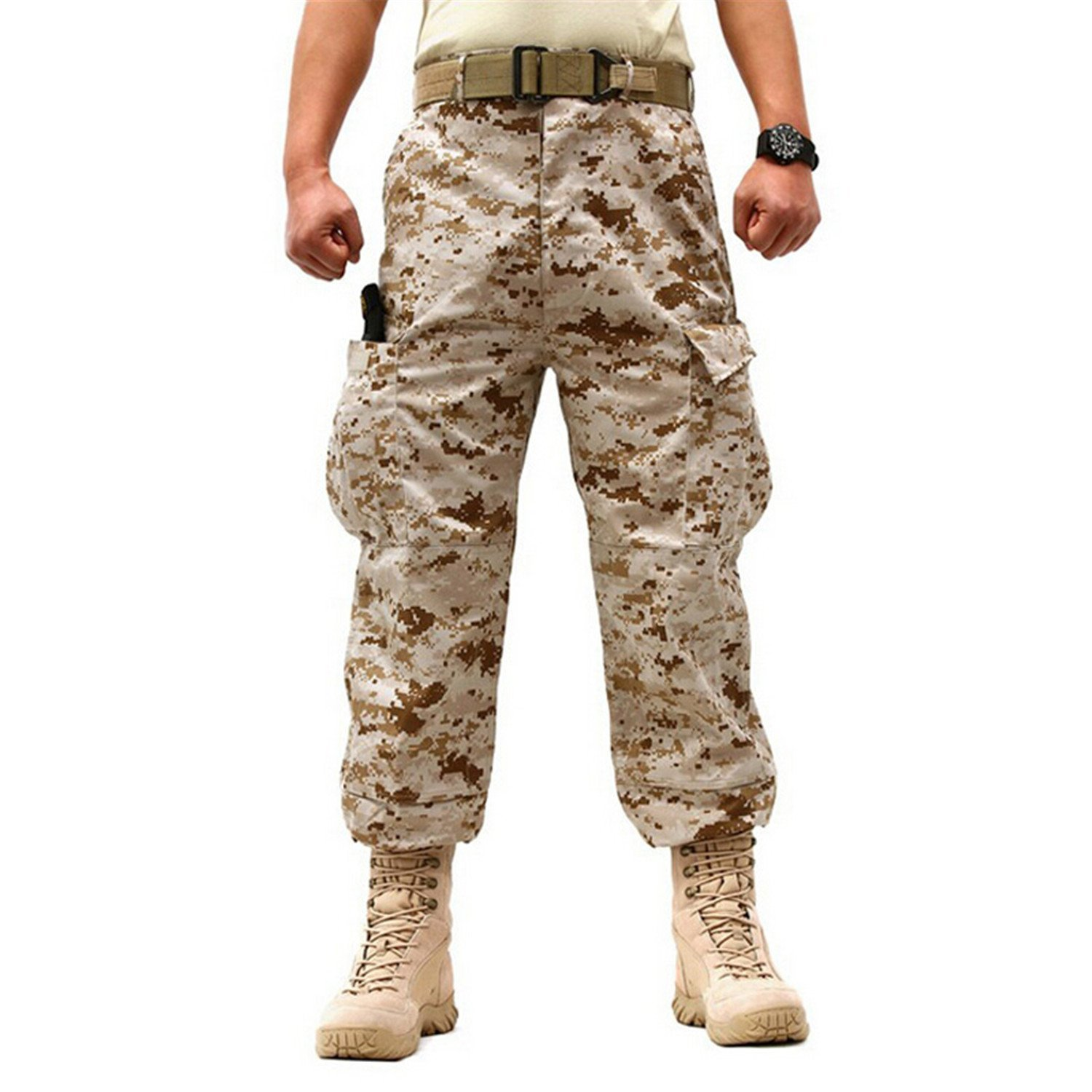 TOPING Fine Men Clothing Camouflage Cargo Trouser Male Casual Man Pantalon Homme Military Pants Desert CamouflageLarge