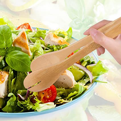 betterm bambú madera alimentos barbacoa ensalada pinzas para tostadas: Amazon.es: Hogar