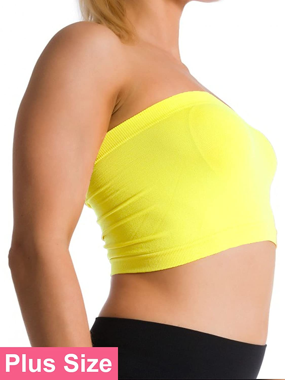 a60fa2442 Ekimo T-USA Plus Size Seamless Strapless Bandeau Bra Tube Top Sports Bra  Yoga XL 1X 2X 3X 4X (Beige) at Amazon Women s Clothing store