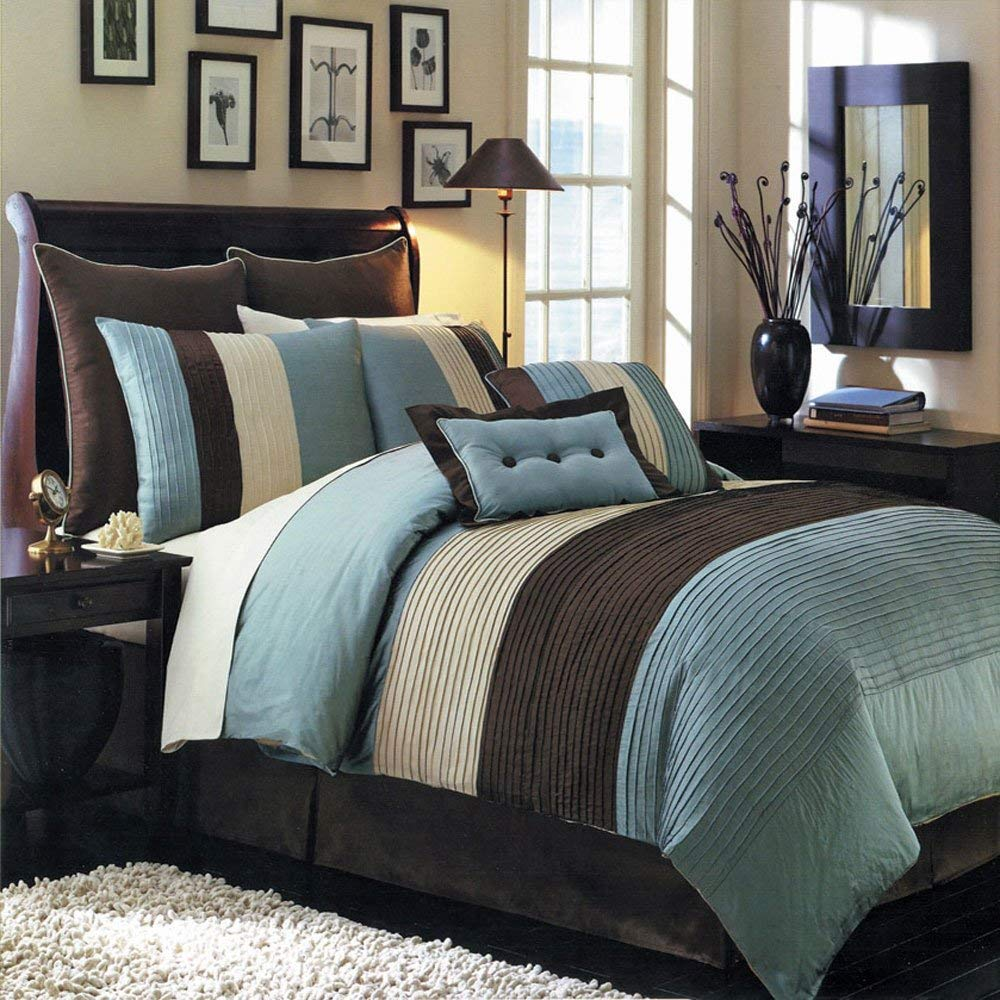 Hudson Teal-Blue, Brown, and Cream Olympic Queen size Luxury 8 piece  comforter set includes Comforter, bed skirt, pillow shams, decorative  pillows