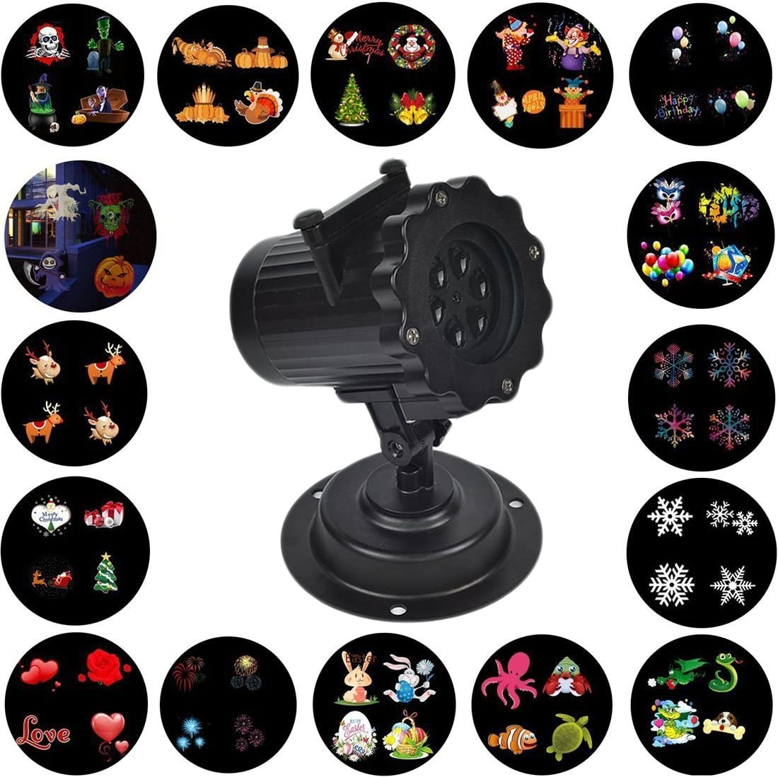 WONFAST Christmas Projector Light, Waterproof LED Landscape Spotlight Lamp Light Effect with 16 Replaceable Slides for Indoor Outdoor Halloween Birthday Party,Weeding Garden Home Wall Decoration