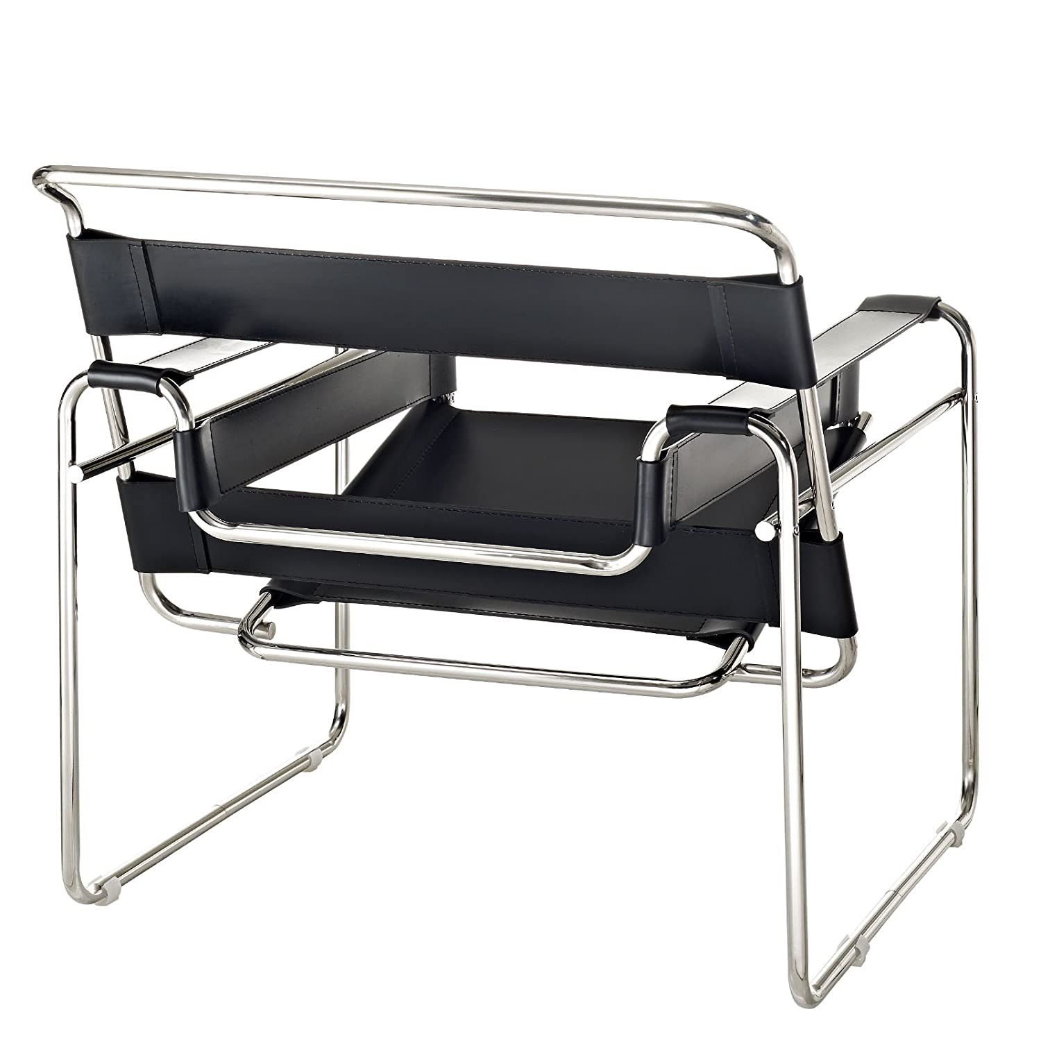 Amazon.com: Modway Premium Wassily Style Chair In Black Leather: Kitchen U0026  Dining