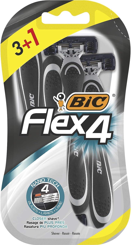 BIC Flex4 Maquinillas de Afeitar Desechables para Hombre - Blíster de 3+1