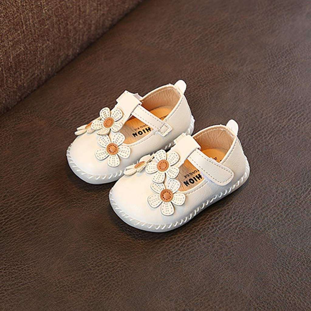 FIged Cute Baby Girls Soft Bottom Flat Floral Ornament Non-Slip Dancing Shoes