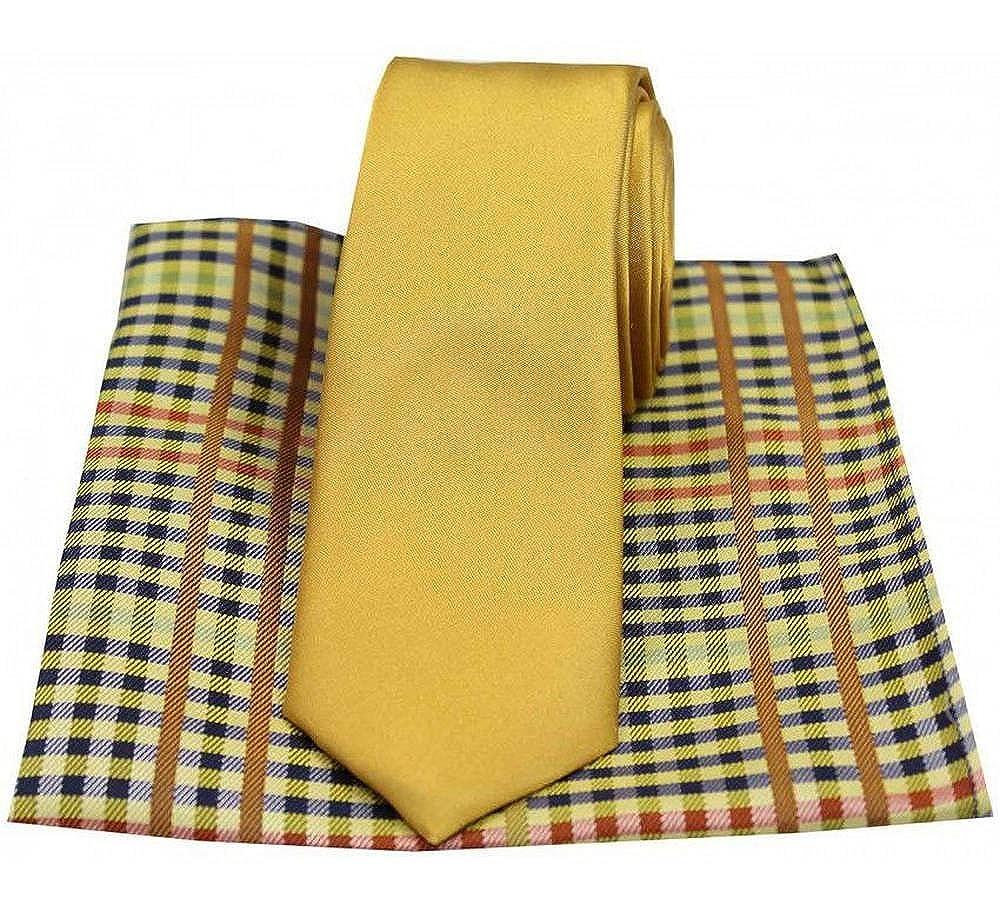 David Van Hagen Mens Plain Tie and Check Handkerchief Set Gold