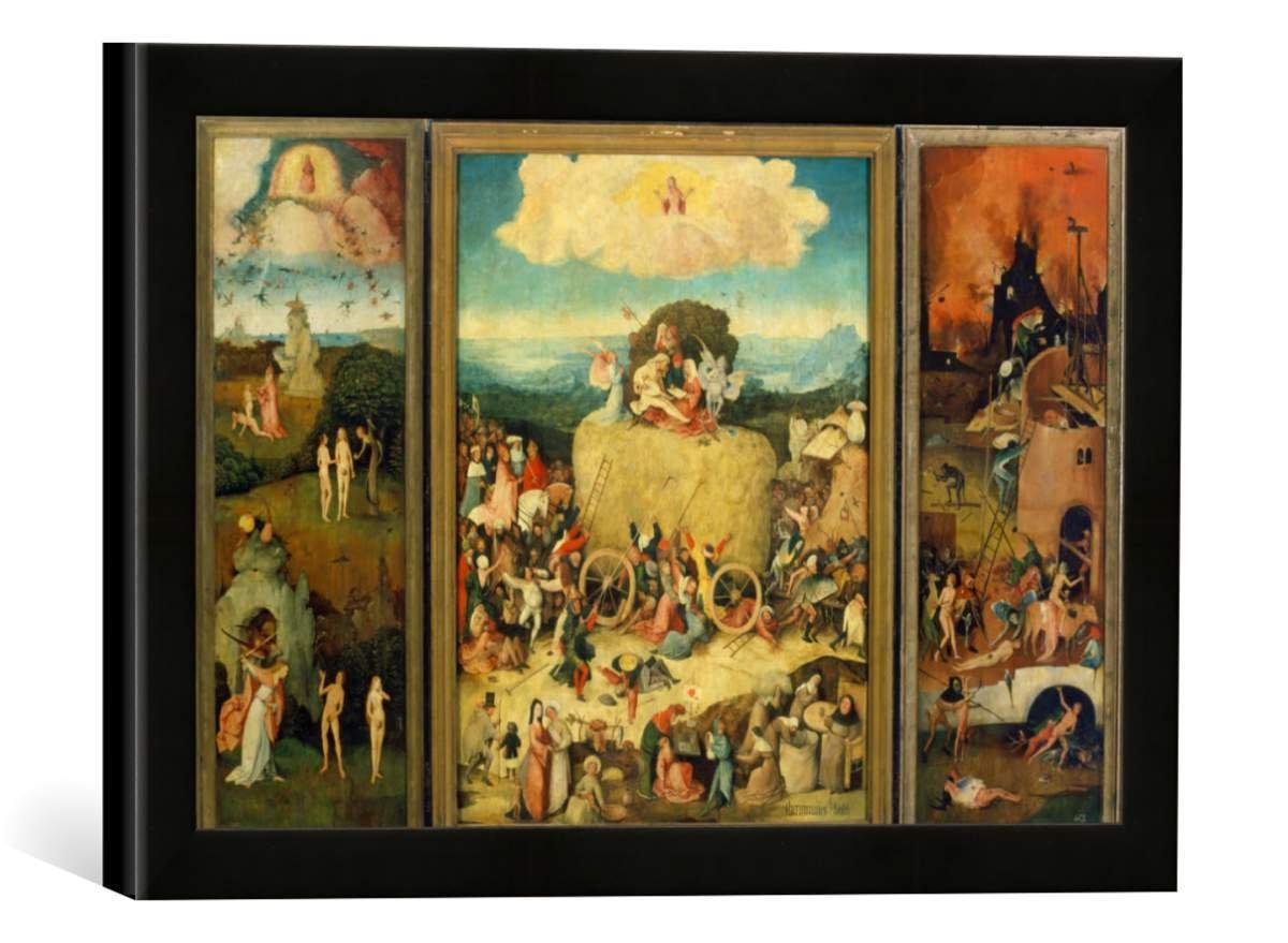 Gerahmtes Bild von Hieronymus Bosch Totale, geöffnet: Triptychon, Der Heuwagen, Kunstdruck im hochwertigen handgefertigten Bilder-Rahmen, 40x30 cm, Schwarz matt