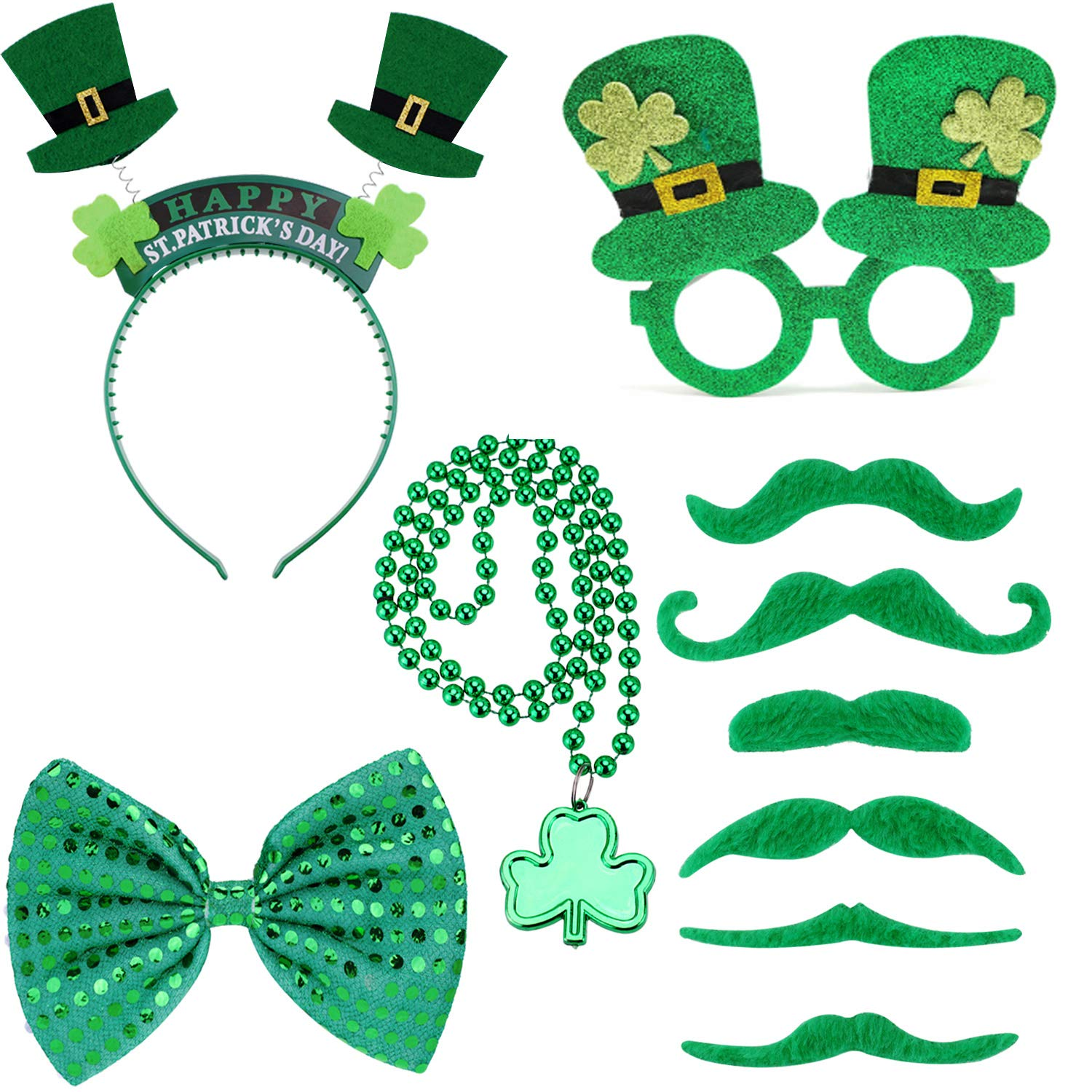 Party Supplies Include Shamrock Glasses St Patrick s Day Accessories Set for Parade Great Party Favors Gifts for Kids and Adults 10pcs Sequined Bow Headband and 4 Different Necklaces