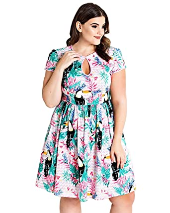 cdac865bed6 Hell Bunny Women s Toucan Tiki Tropical Print Short Sleeve Keyhole Pinup  A-Line Dress - Regular   Plus Size at Amazon Women s Clothing store