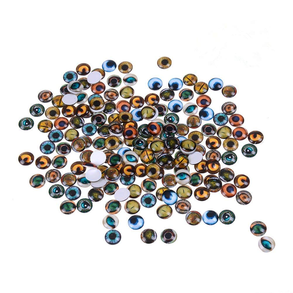Mixed Color Lucky Evil Eye Glass Flatback Scrapbooking Dome Cabochons 10mm Dragon Eyes Accessory for Jewelry Pendant Settings 200PCS