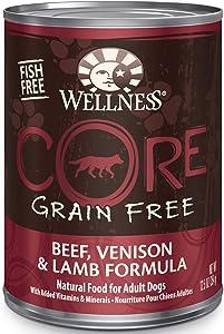 Wellness CORE Natural Grain Free Beef Venison & Lamb Wet Dog Food, 12.5 oz., Case of 12, 12 X 12.5 OZ