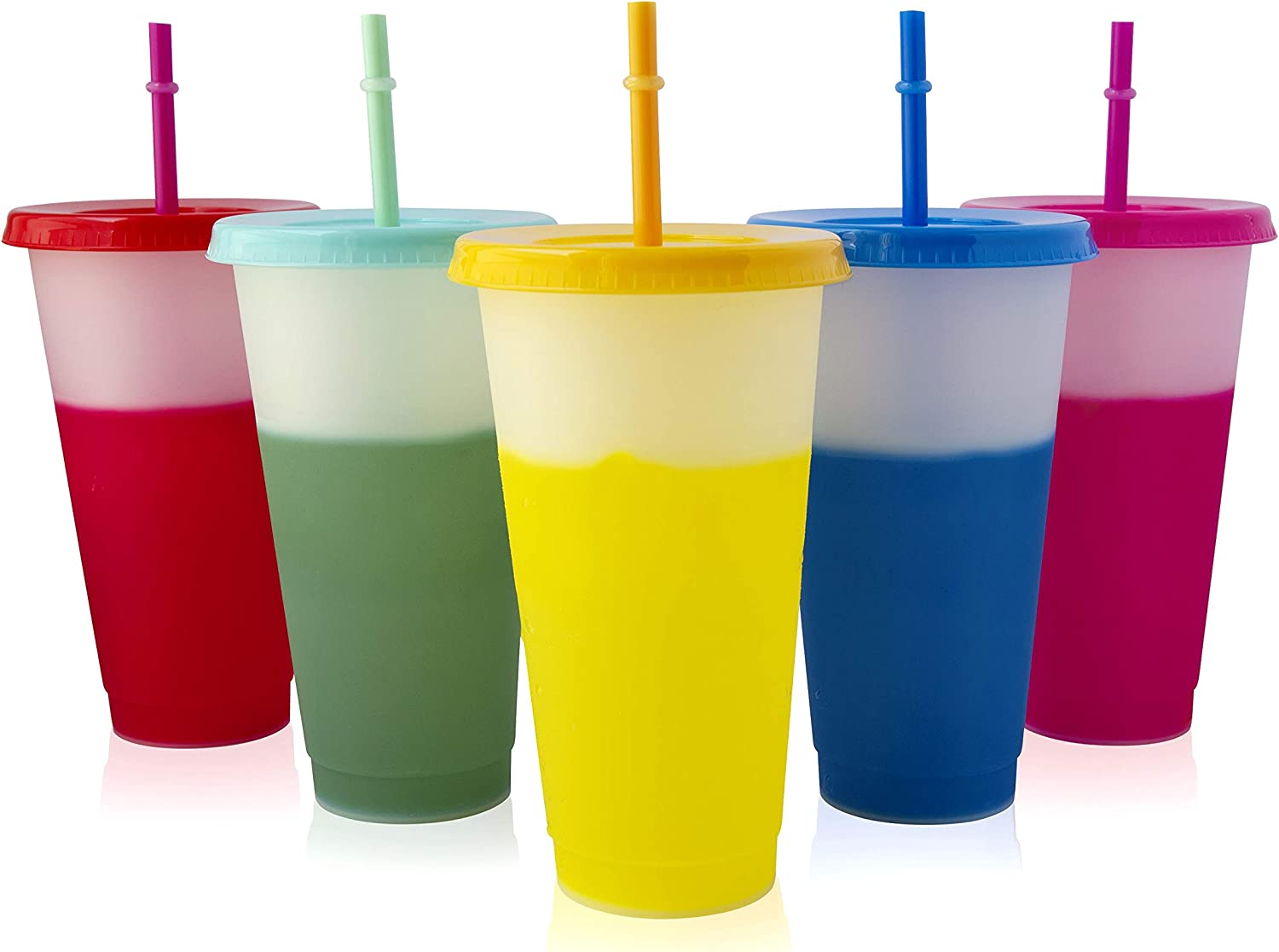 MagiCup Color Changing Cups - Set of 5 Frosted Plastic Cups with Lids and Straws - BPA Free - 24oz Reusable Tumblers - Blank Cold Drink Cup - Party Cups for Adults and Kids