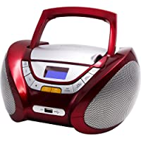 Lauson - CP449 - Lecteur Radio CD Portable avec Port USB / Mp3, Bluetooth Rouge