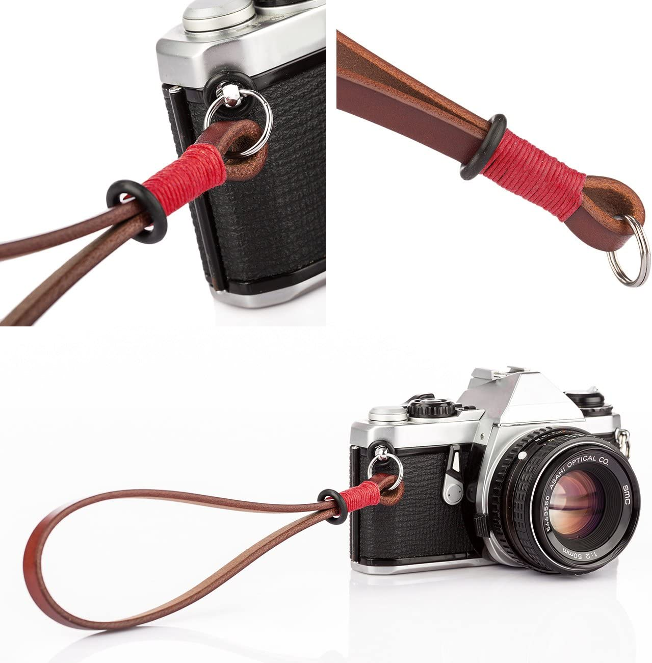 TARION Camera Wrist Strap Genuine Leather Camera Hand Strap Handmade Handcrafted Camera Strap Wriststrap Handstrap Retro Style for Men Woman Compact SLR DSLR Mirrorless Cameras Blue