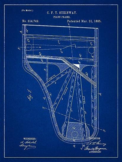 Amazon steinway piano 1885 patent musical instrument steinway piano 1885 patent musical instrument blueprint style art print 18x24 inch malvernweather Gallery