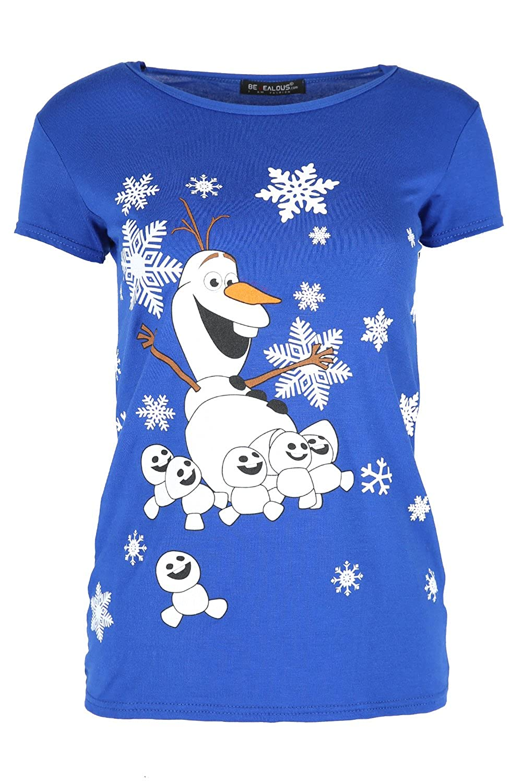 Fashion Star Womens Christmas T Shirt Ladies HOHOHO Snowman Hat Cap Sleeve Jersey Xmas Top BE JEALOUS