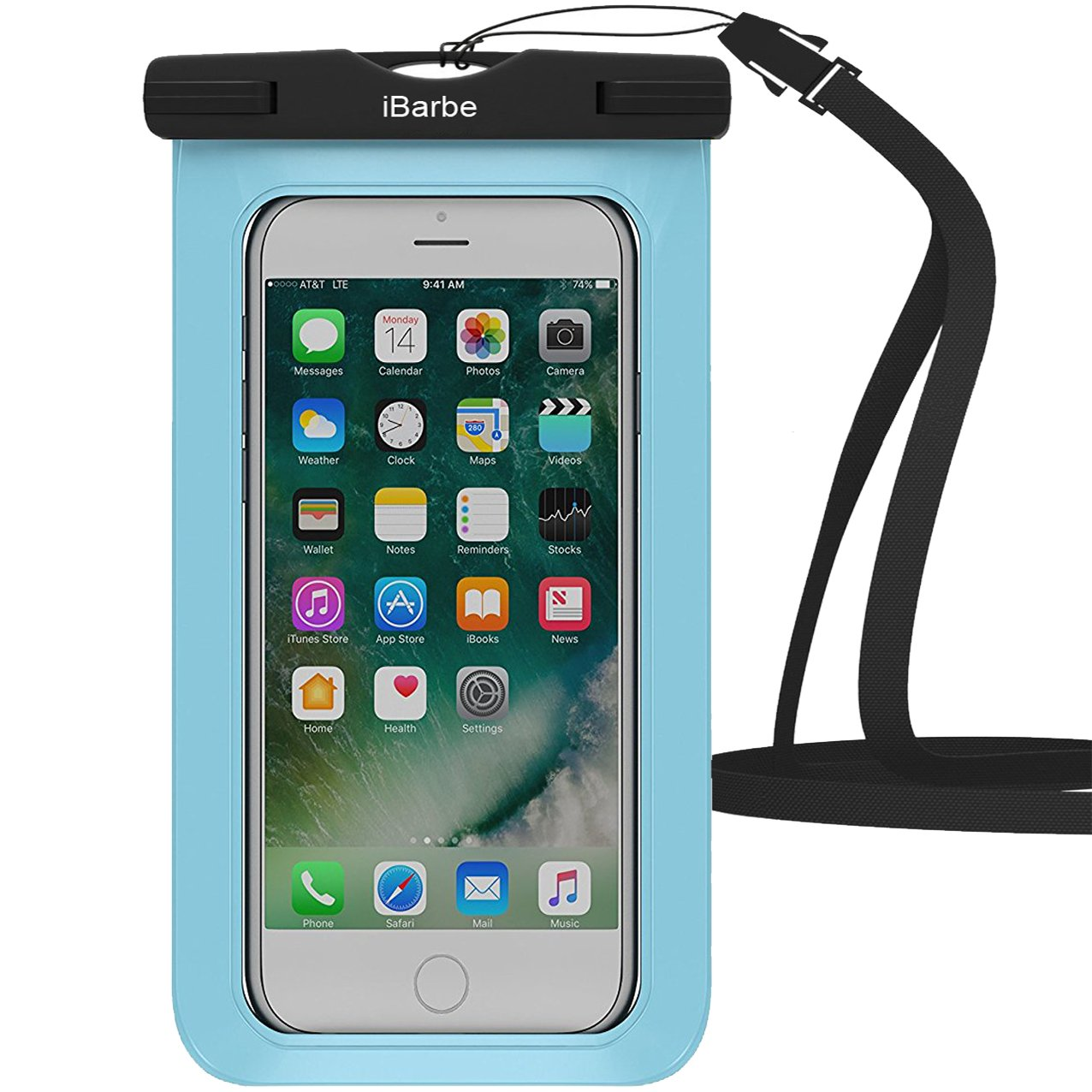 iBarbe 2 Pack Waterproof Case, Universal Cell Phone Plasic TPU Dry Bag for iPhone 7 7 plus 6S 6/6S Plus 5/S/SE 5C samsung galaxy Note 5 s8 s8 plus S 8 S7 S6 Edge s5 etc.to 5.7 inch,Tear+Blue by iBarbe (Image #3)