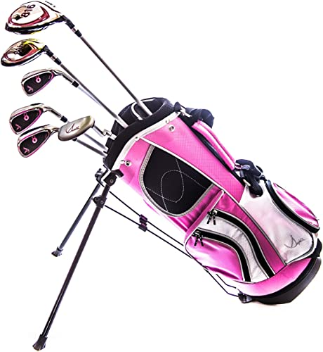 Sephlin – Lady E Girls Pink Right Hand 6 Pieces Golf Clubs Set Golf Bag 2.0 Ages 3-6