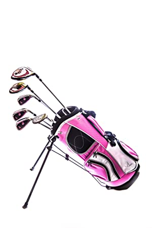 Sephlin – Lady E Girls Pink Right Hand 6 Pieces Golf Clubs Set Golf Bag Ages 3-6