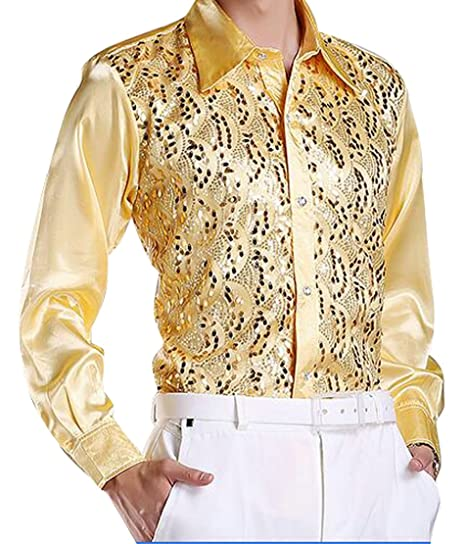 28e16178c3 ARTFFEL-Men Stylish Long Sleeve Sequins Slim Fit Party Dress Shirt Blouse  Top 1 XS