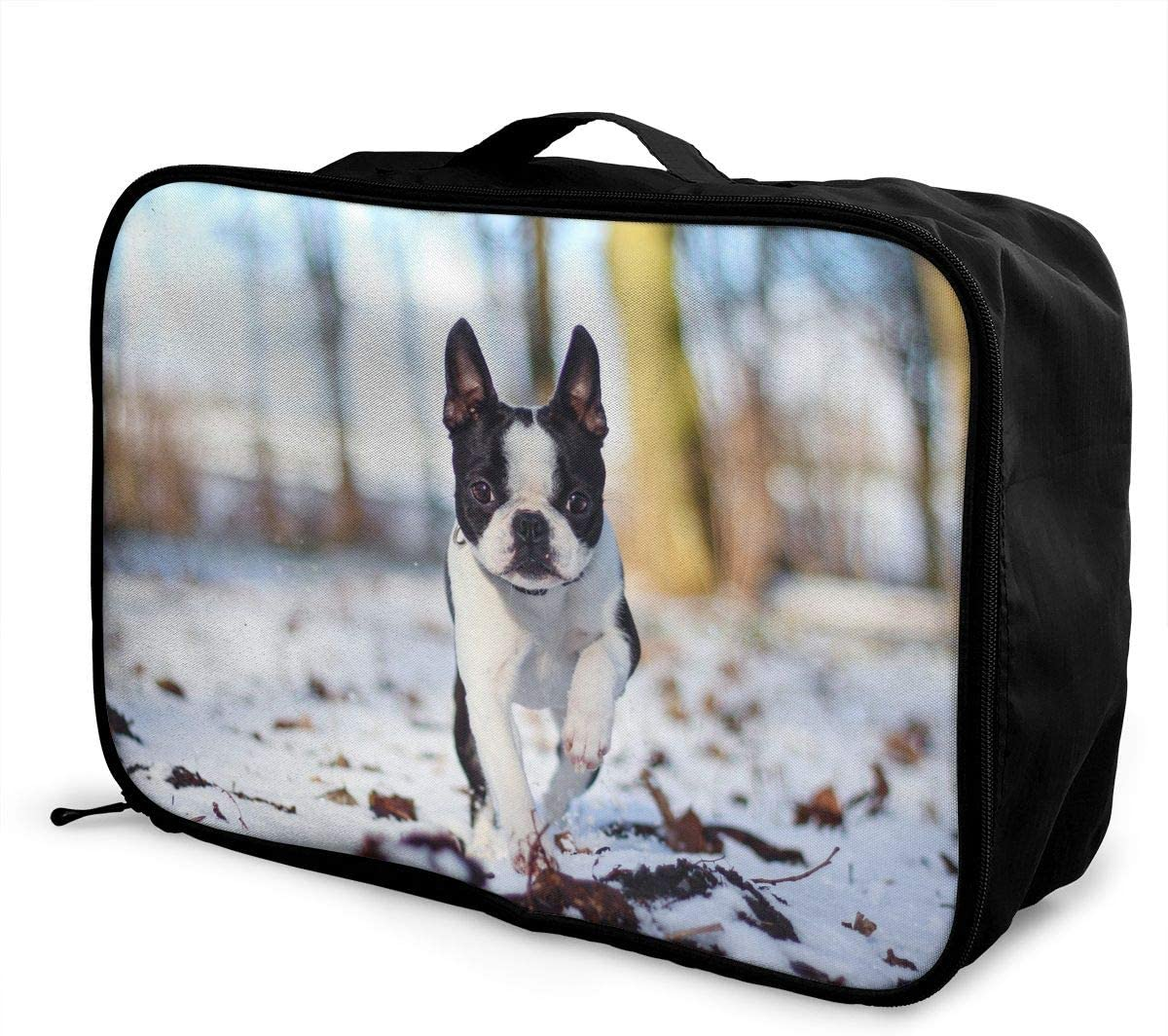 French Bulldog Travel Carry-on Luggage Weekender Bag Overnight Tote Flight Duffel In Trolley Handle