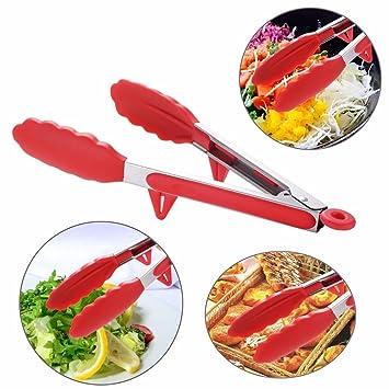 Cocina Utility pinzas, Y56 14 Inch Extra largo silicona utensilios de cocina pinzas de barbacoa