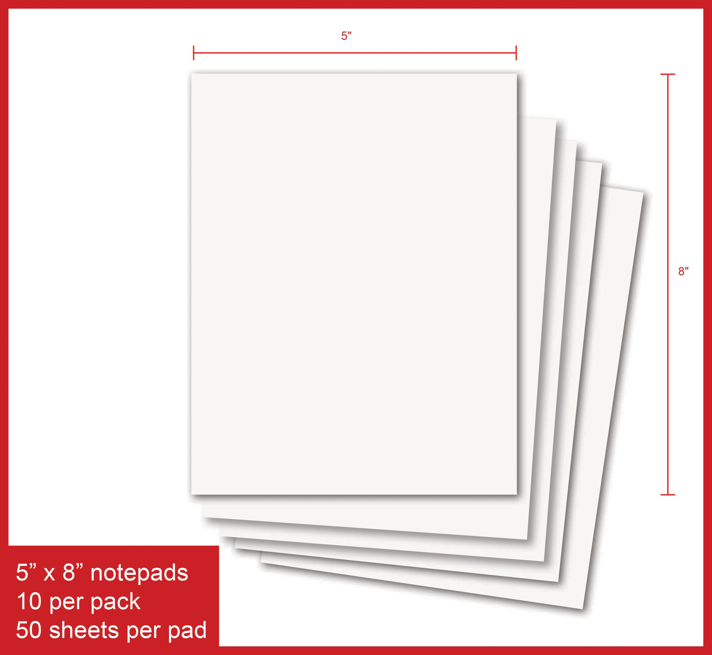 Creative Business Blank Notepads - Pack of 5 Memo Pads 8.5 x 5.5 Inches, 50 Sheets Per Pad Scratch Pads (8.5 x 5.5-5 Pads)