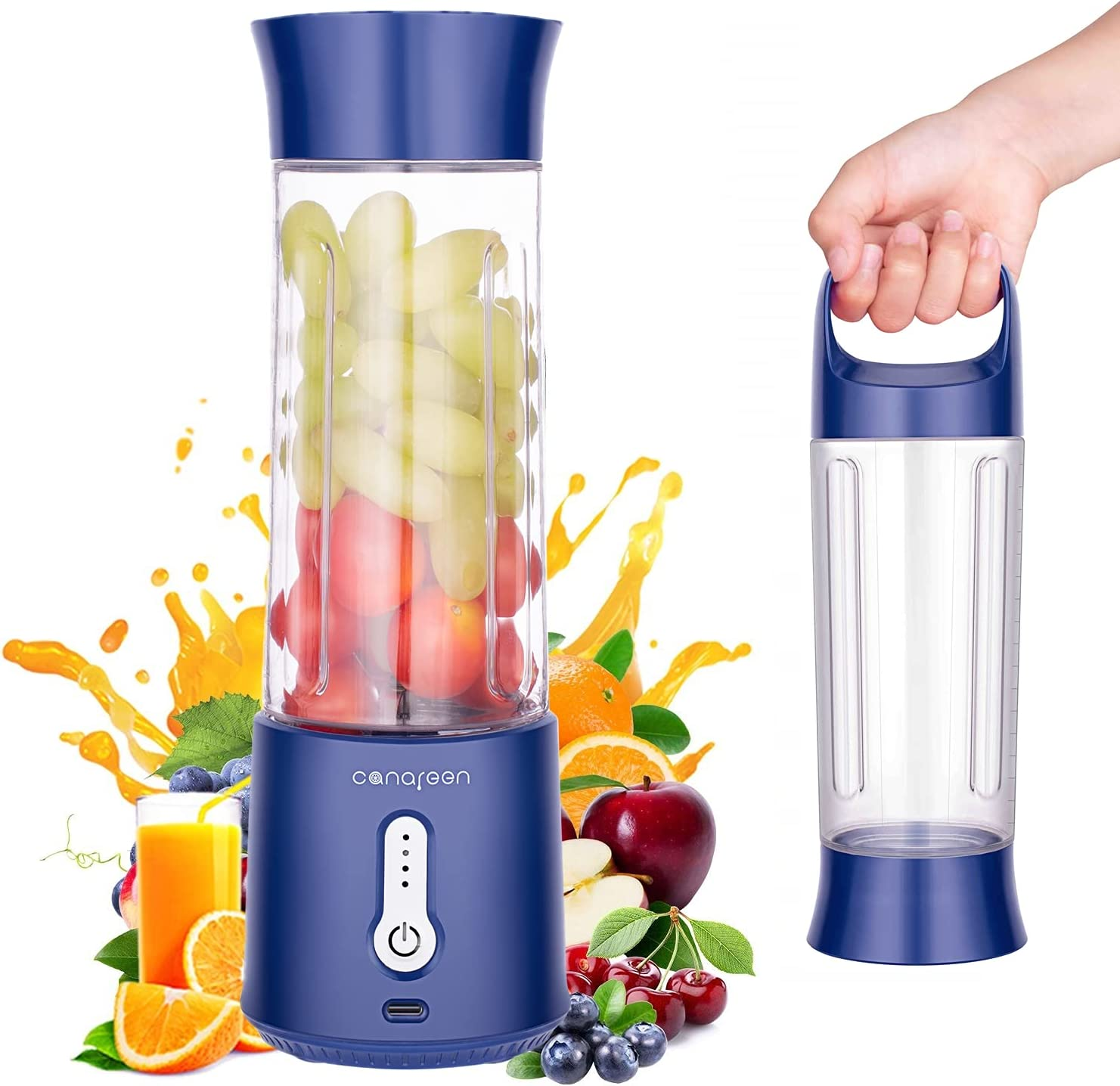 AIKIDS Portable Blender - 17Oz Personal Blender for Smoothies and Shakes | 4000mAh Rechargeable USB Mini Blender with Six Blades | Handheld Blender for Sports Travel Gym