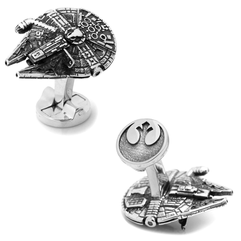 Star Wars Millennium Falcon Silver Replica Cufflinks in Star Wars Gift Box