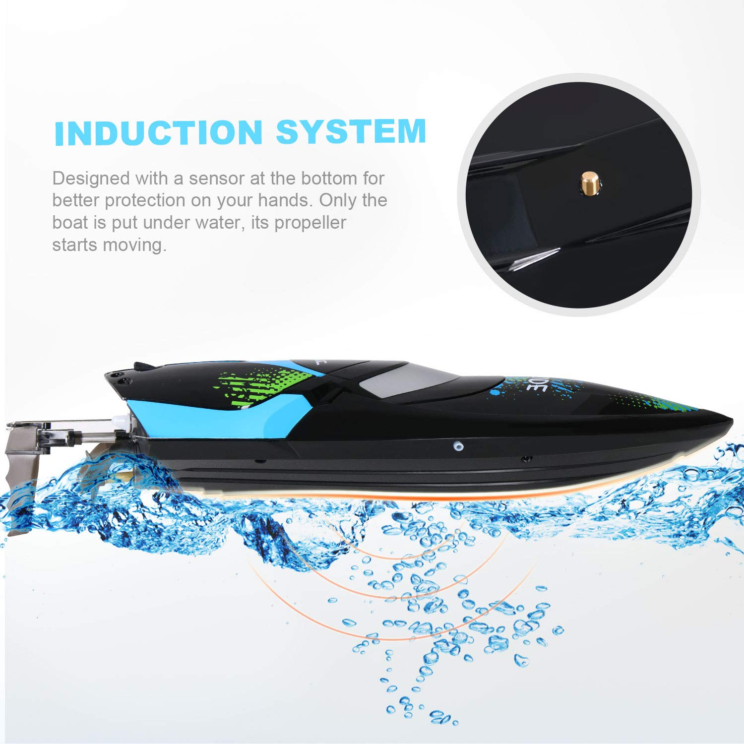 ANTAPRCIS 25km/h RC Boat, 2.4GHz 180° Flip Remote Control Race Boat for Pool Lake Boy Adult, Black by ANTAPRCIS (Image #4)