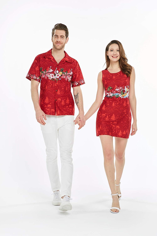 Christmas Outfit.Couple Matching Hawaiian Luau Cruise Christmas Outfit Shirt Dress Santa Red
