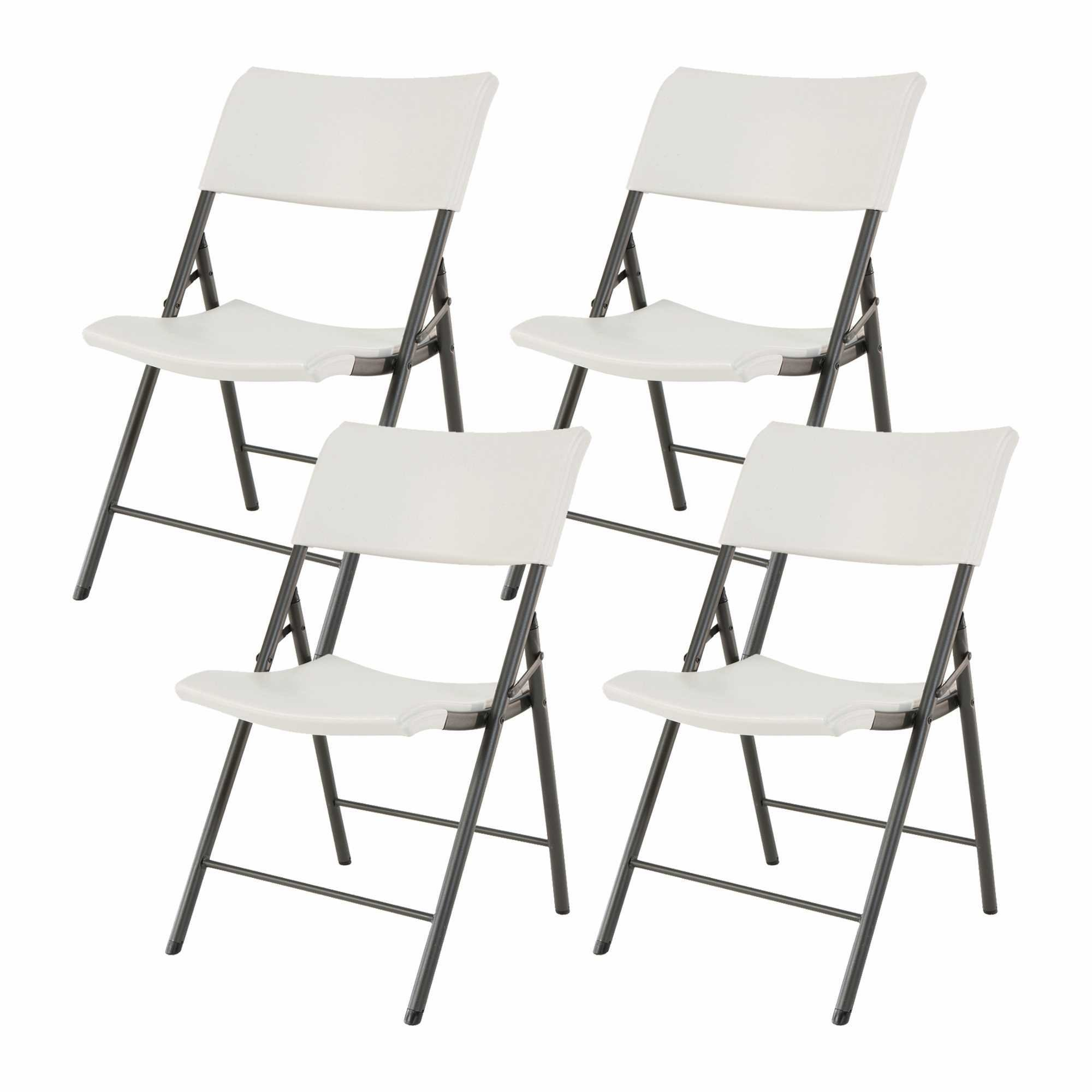 Lifetime Light Commercial Contemporary Plastic Folding Chair, Almond (4 Pack) by Lifetime
