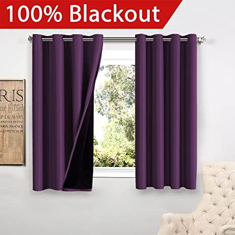 FlamingoP Full Blackout Indigo Plum Curtains Faux Silk Satin With Black  Liner Thermal Insulated Window Treatment