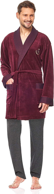 9101 Accappatoio Manica Corta Asciugamano Corto da Uomo L/&L Vestaglia per Uomo Estremamente Leggero