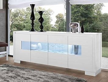 Credenza Buffet Moderna : Credenza buffet madia 4 ante con vetro legno massello design moderno