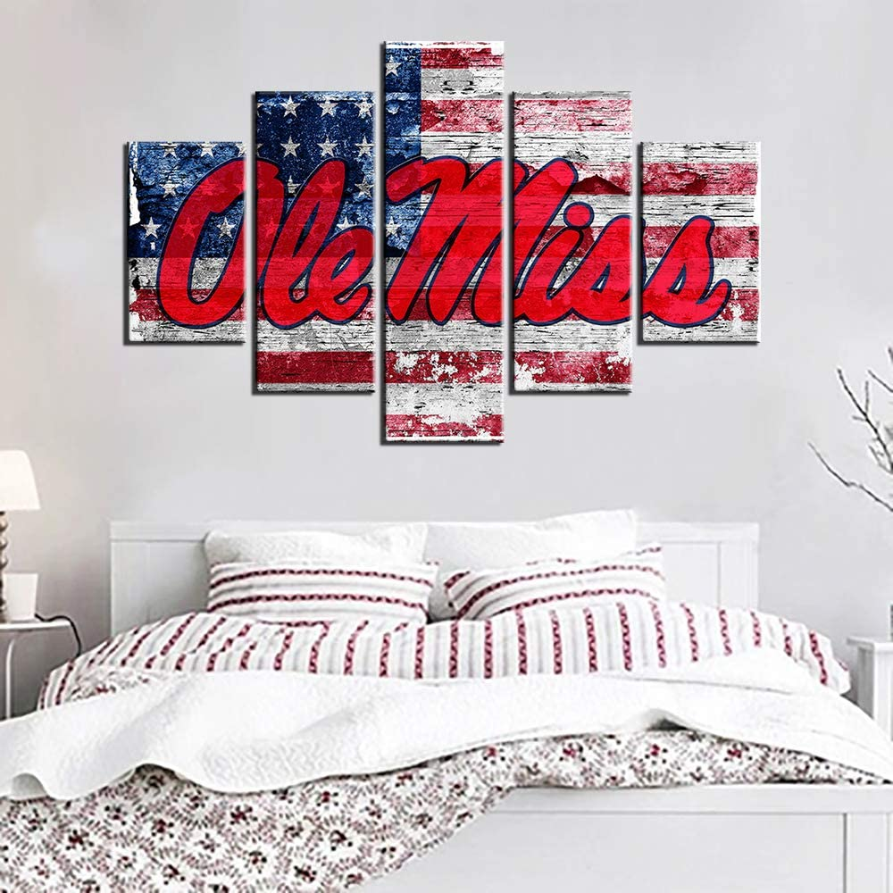 American Flag Decor Logo of university sports association sports team Paintings Picture for NCAA USA Wall Art 5 Piece Canvas Home Decorations for Living Room Giclee Artwork Ready to Hang(60''Wx40''H)
