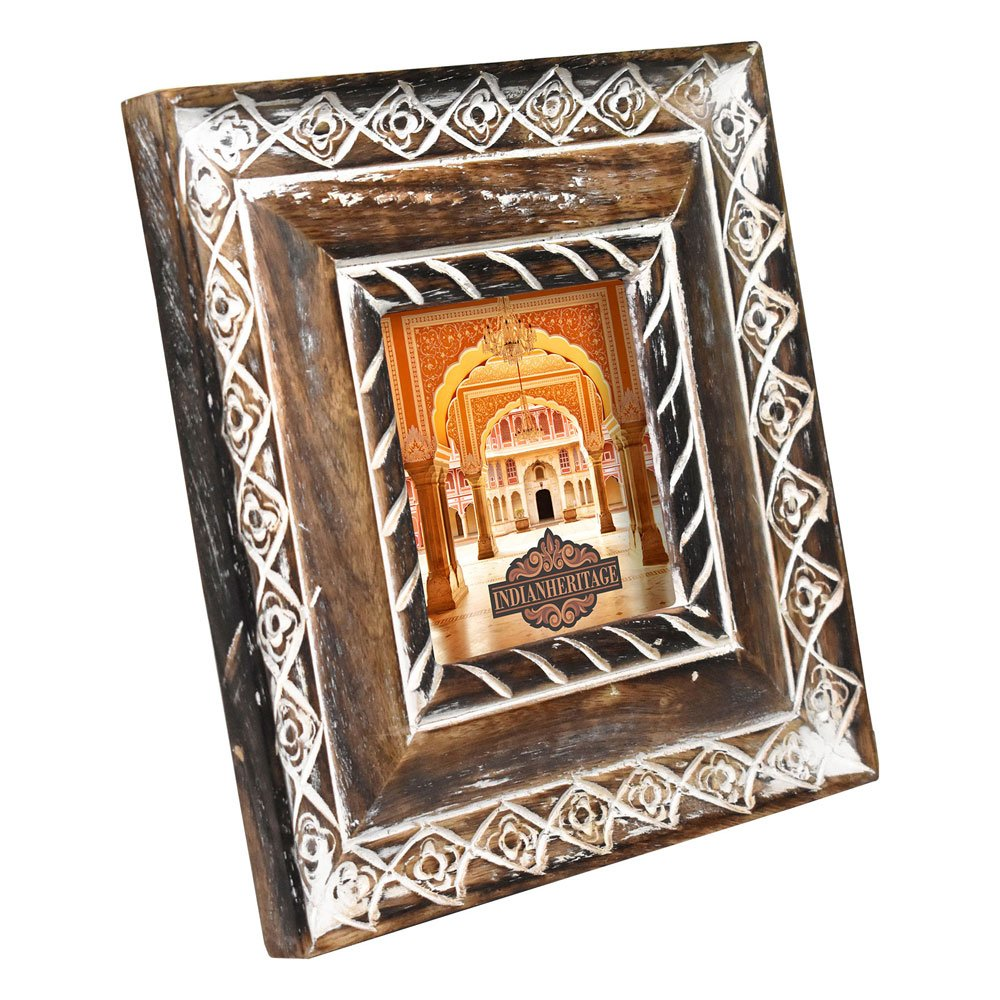 Indian Heritage Wooden Photo Frame 4x4 Mango Wood Carving Design with Dark Wood Color and Whitewash Finish