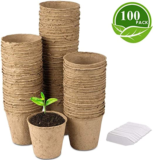 LATERN 100Pcs 8cm Macetas de Semillas de Fibra Biodegradable para ...