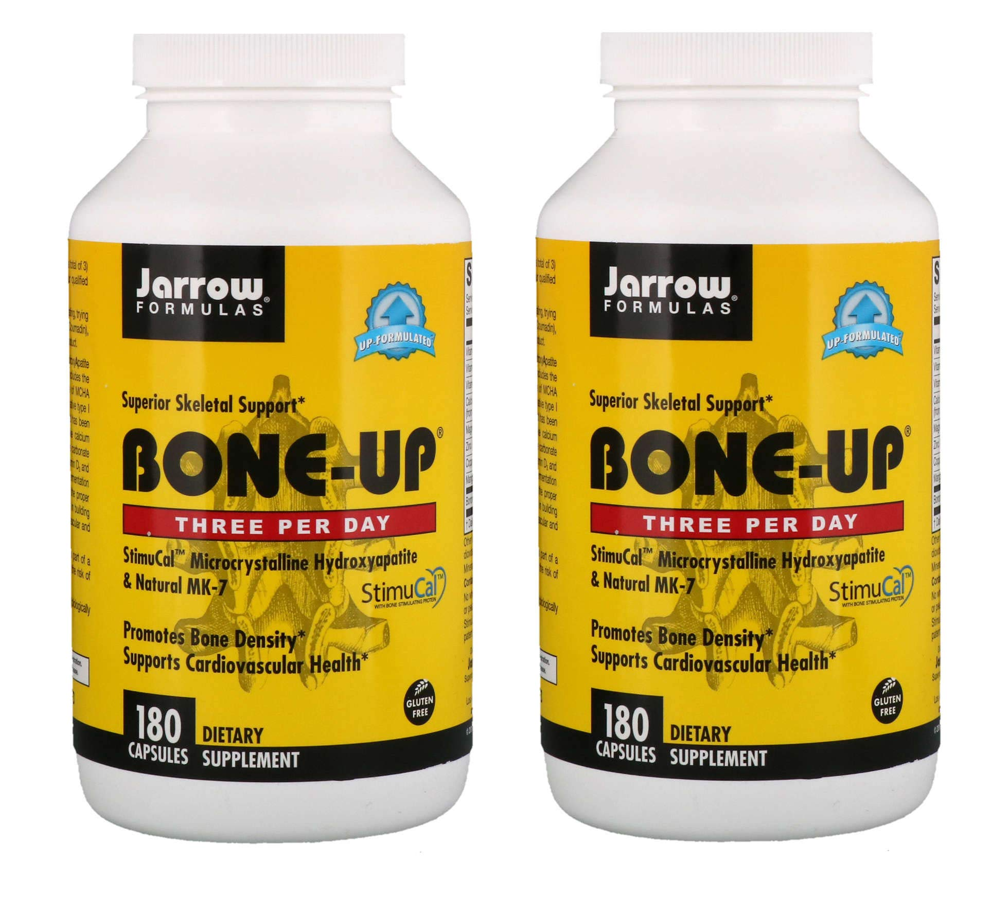 Jarrow Formulas Bone-Up Three Per Day for Superior Skeletal Support, Bone Density and Cardiovascular Health with StimuCal, Microcrystalline Hydroxyapatite and Natural MK-7 (180 Capsules) Pack of 2)