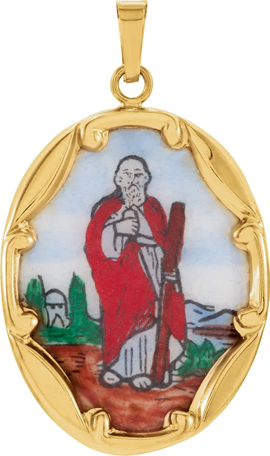 14k Yellow Gold St Jude Hand-Painted Porcelain Medal