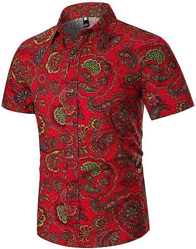 Camisas Hombre Flores 2020 Moda SHOBDW Playa de Verano Impresión Hawaiana Vintage Retro Blusa Slim Fit Tops Shirts Cuello Mao Camisetas Hombre Manga Corta Tallas Grandes 3XL: Amazon.es: Ropa y accesorios