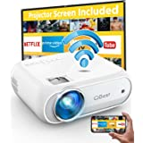 Mini Projector, CiBest 7000L Movie Projector with Wireless Display Function, 1080p for FHD Home Theater, Compatible with iPho