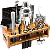 26Pcs Stainless Steel Cocktail Bar Tool Set,Perfect Bar Accessories for Home Bar Set and Martini Mixer Kit with Bamboo Stand