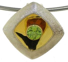 Anhänger aus Silber 925 Sterlingsilber mit vergoldetem Boden und Peridot grüner Stein von Peter Erker