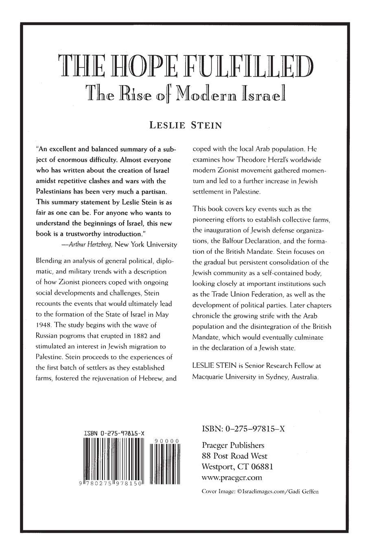 The Hope Fulfilled: The Rise of Modern Israel (Praeger Series on Jewish and Israeli Studies)