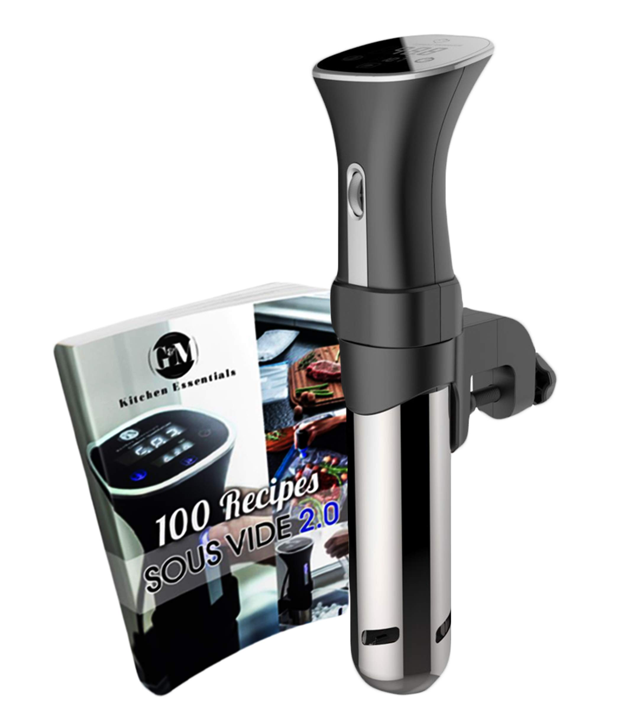 Sous Vide cooker Machine Thermal Immersion Circulator: Precision and Temperature Controller for Easy, Healthy & Even Cooking - BONUS 100 RECIPE COOKBOOK - Black and Stainless, 120 Volts.